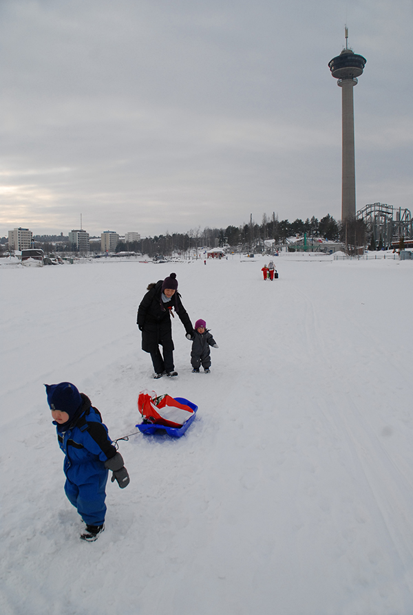 フィンランドの凍った湖を散歩